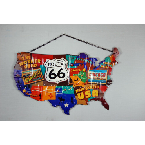Blechschild Route 66 Map