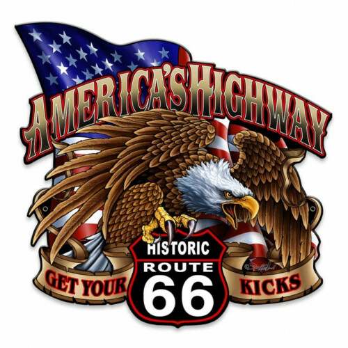 Blechschild Route 66 - America`s Highway
