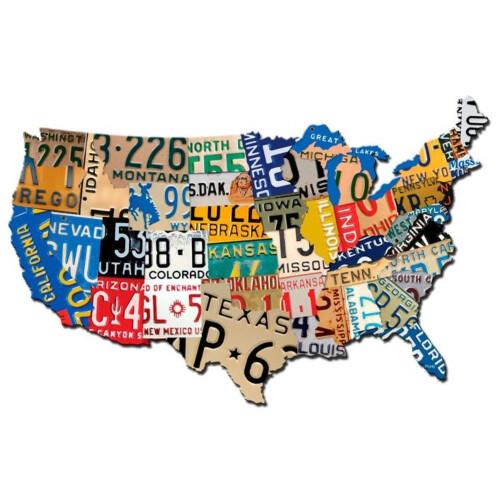 Blechschild License Plate Map