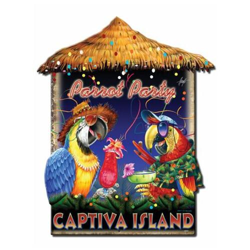 Blechschild Parrot Party Hut