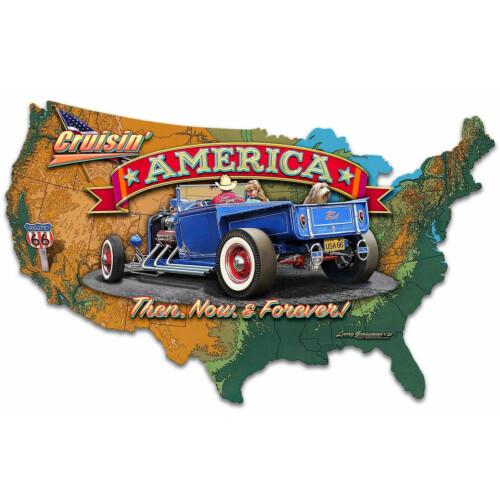 Blechschild Cruisin America Map