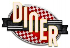 Blechschild Diner Red Checkers S